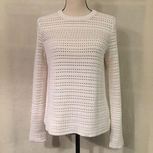 Tory Burch white knit cotton crewneck sweater